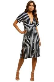 Faithfull - Milan Midi Dress - Navy Mazur Stripe - Front