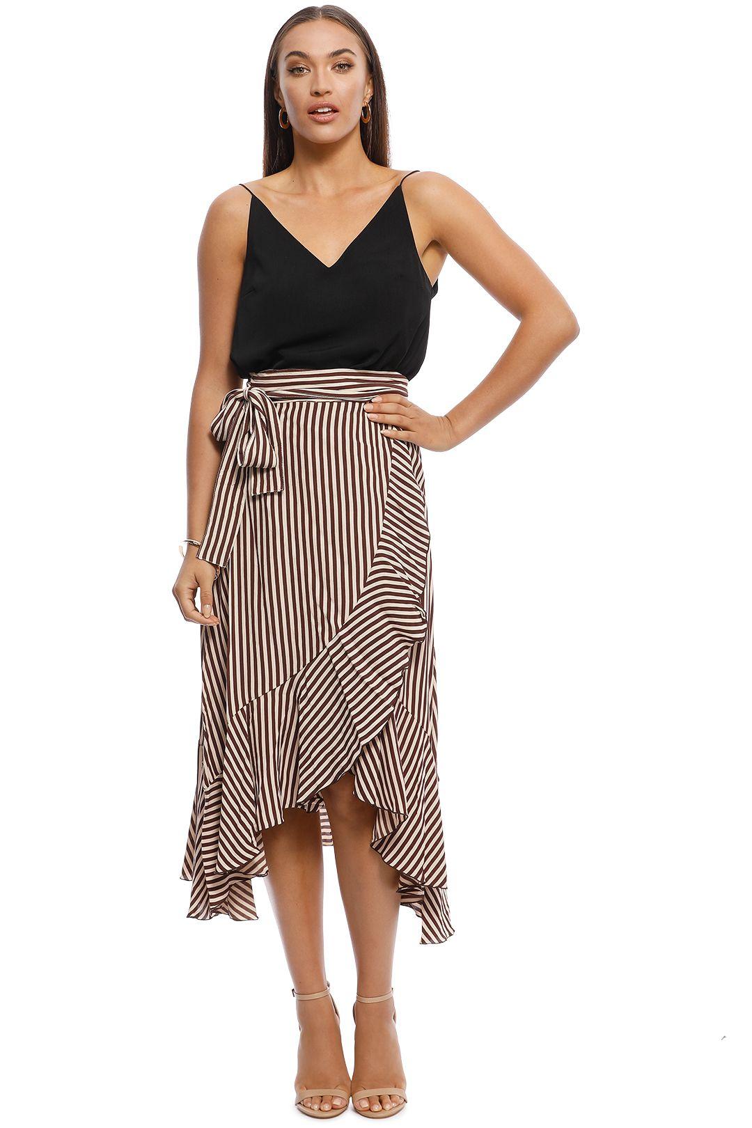 Faithfull - Tramonti Skirt - Georgia Stripe Espresso - Front