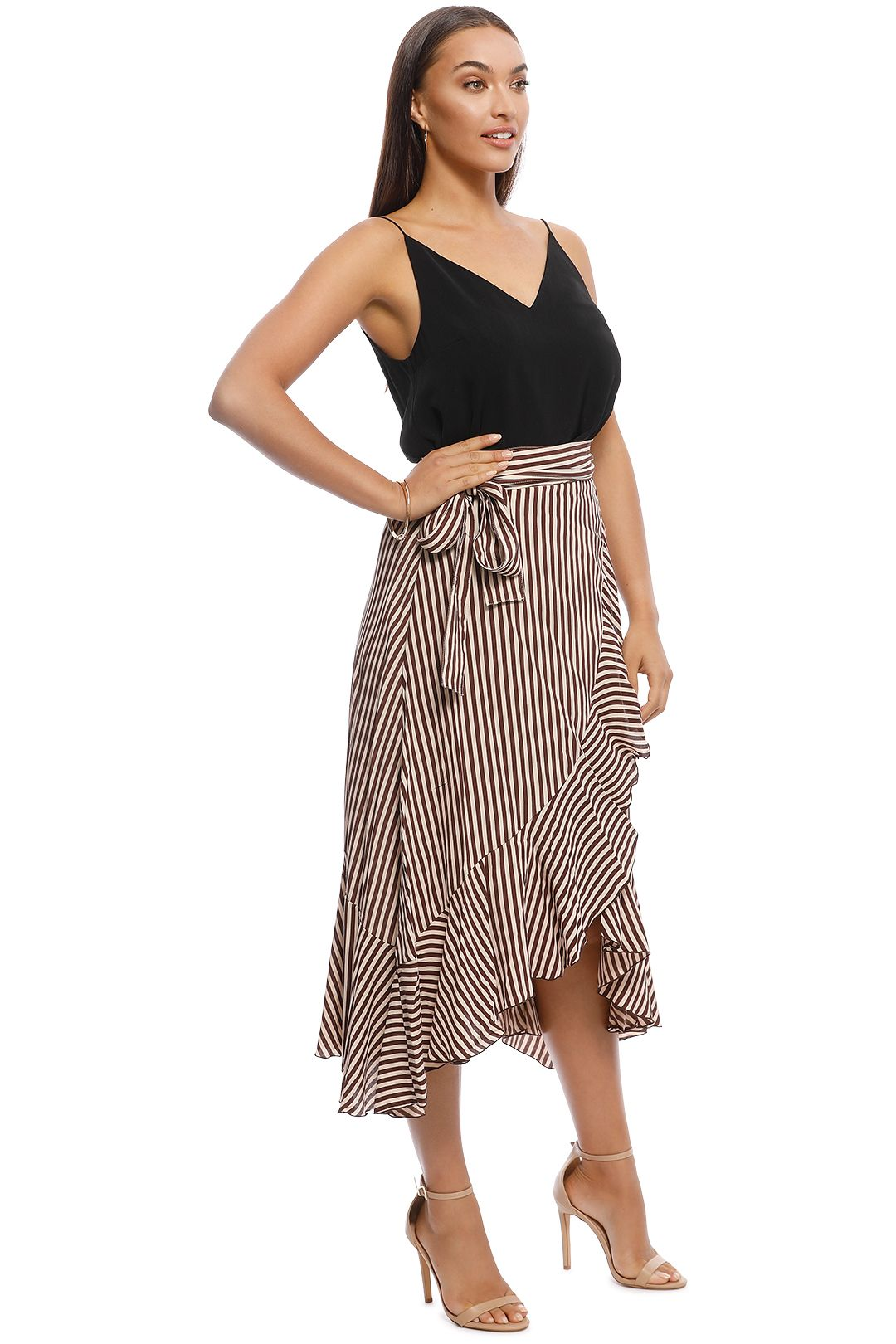 Faithfull - Tramonti Skirt - Georgia Stripe Espresso - Side