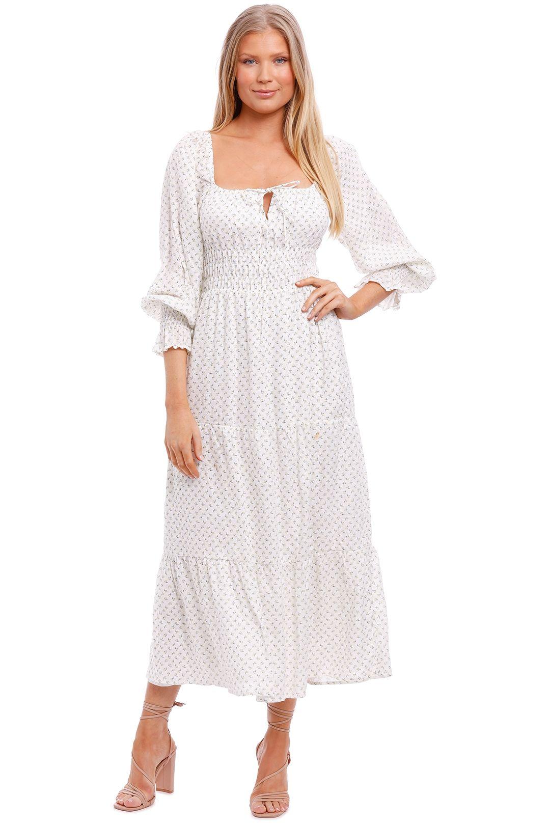 Faithfull Dariya Floral Midi Dress white