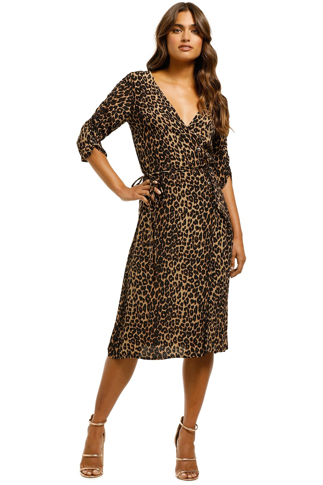 Faithfull the Brand - Anne Marie Midi Dress - Leopard Print - Front