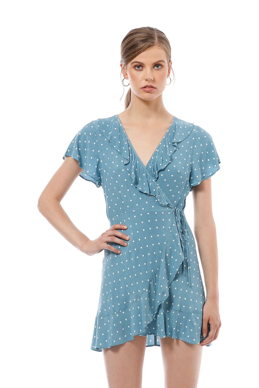 Auguste - Polly Frill Neck Wrap Mini Dress - Blue - Close Up