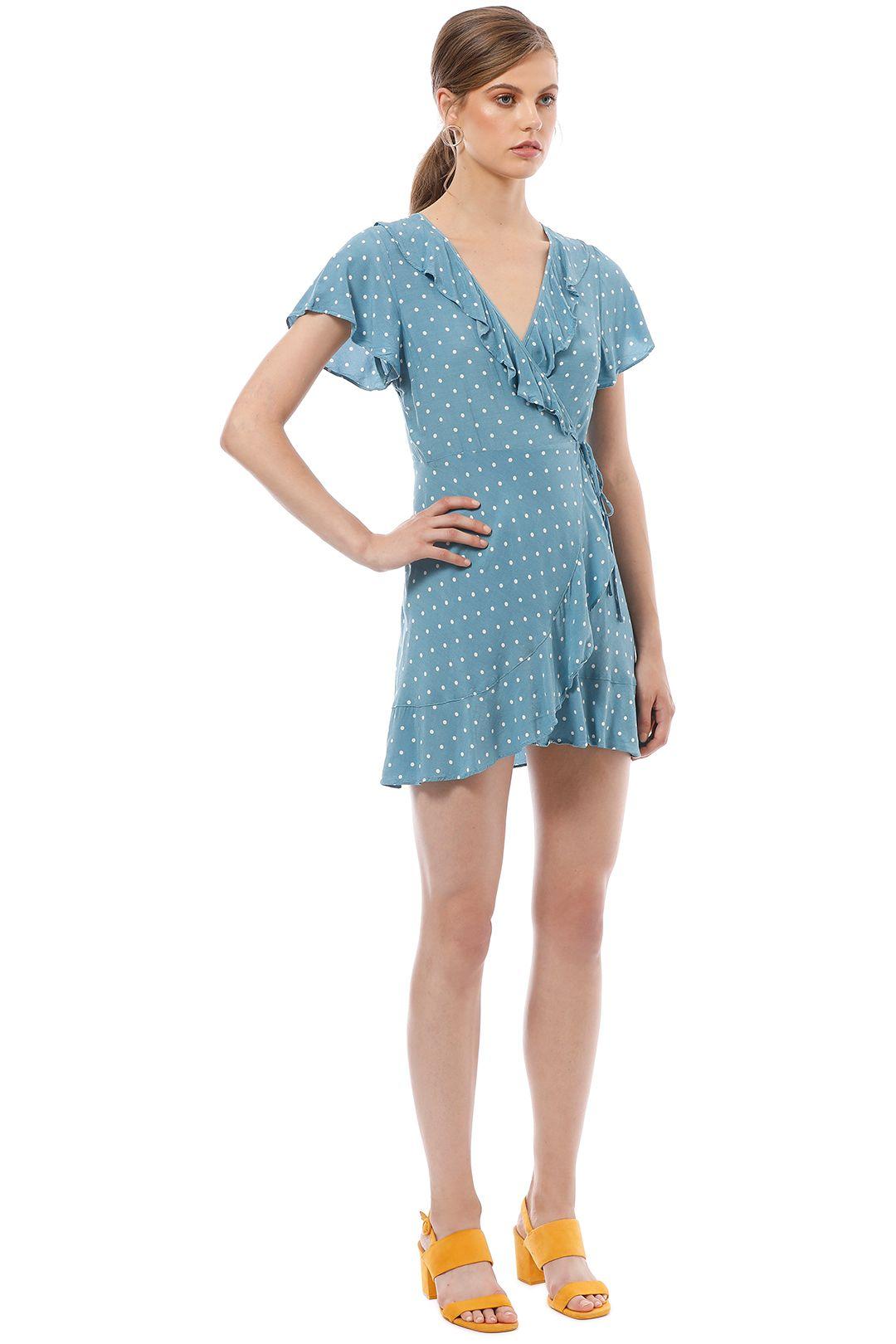 Auguste - Polly Frill Neck Wrap Mini Dress - Blue - Side