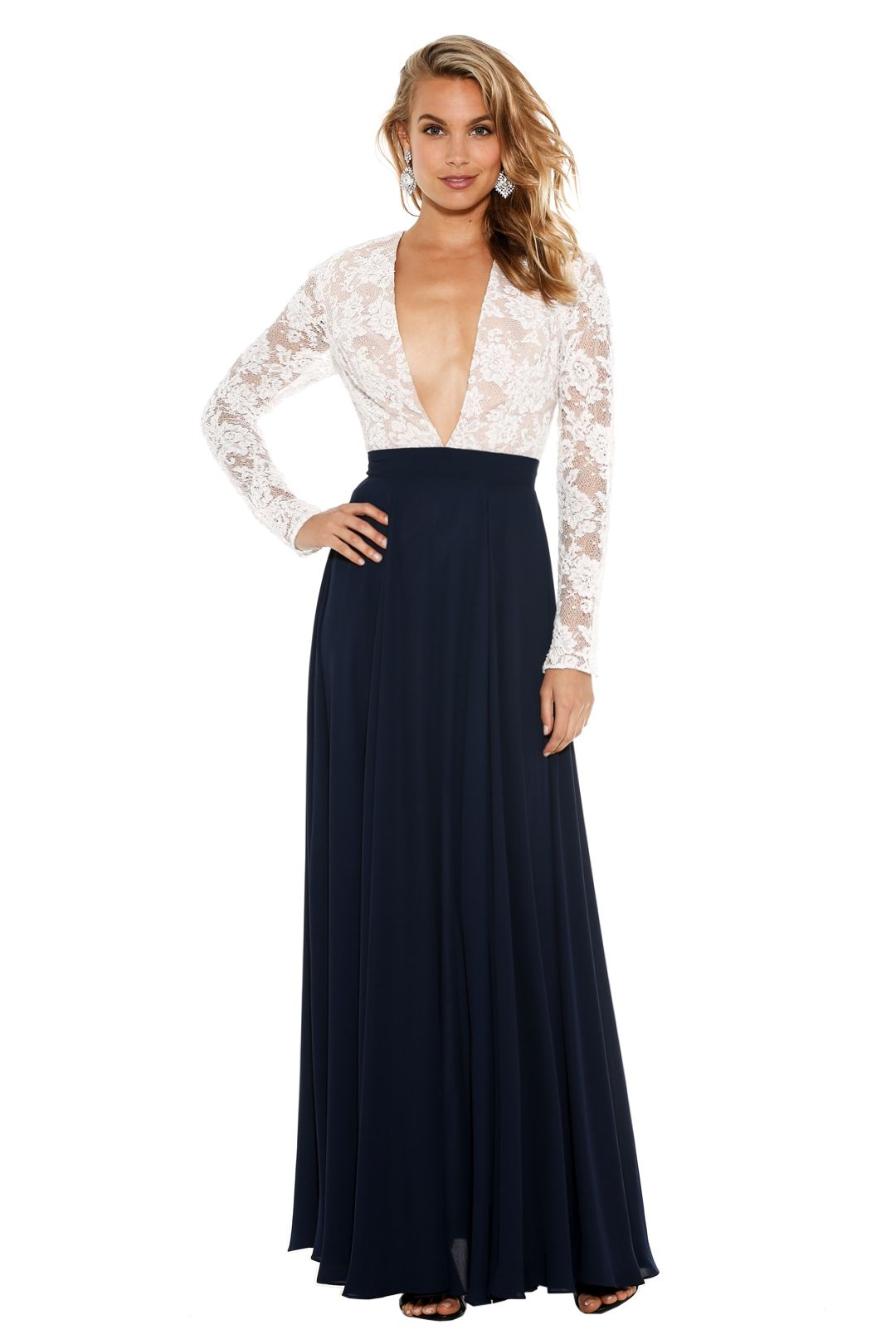 Fame & Partners - Sienna Dress - White Navy - Front