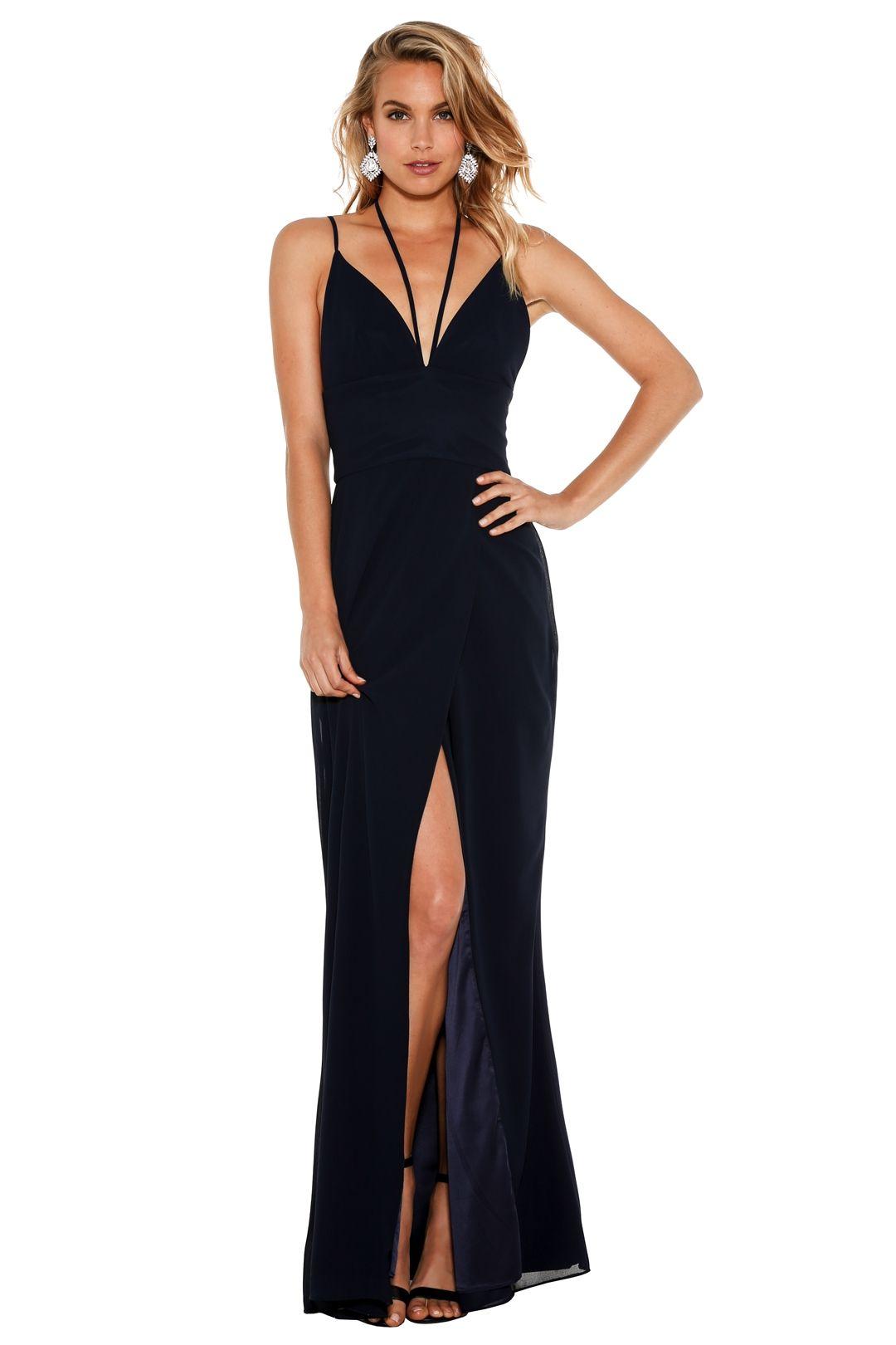 Fame & Partners - Siren Flutter Dress - Navy - Front