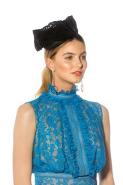 Fillies Collection - Pillbox With Lace - Black - Front Model