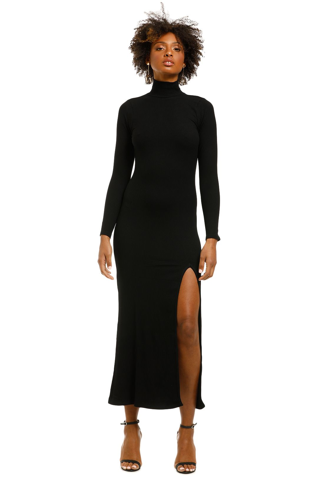 Flynn-Skye-Marie-Midi-Dress-Black-Ribbed-Front