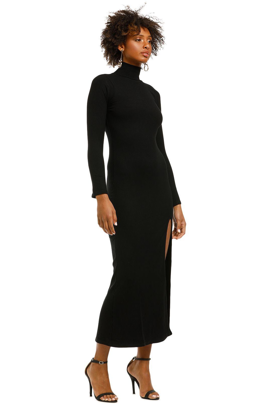 Flynn-Skye-Marie-Midi-Dress-Black-Ribbed-Side