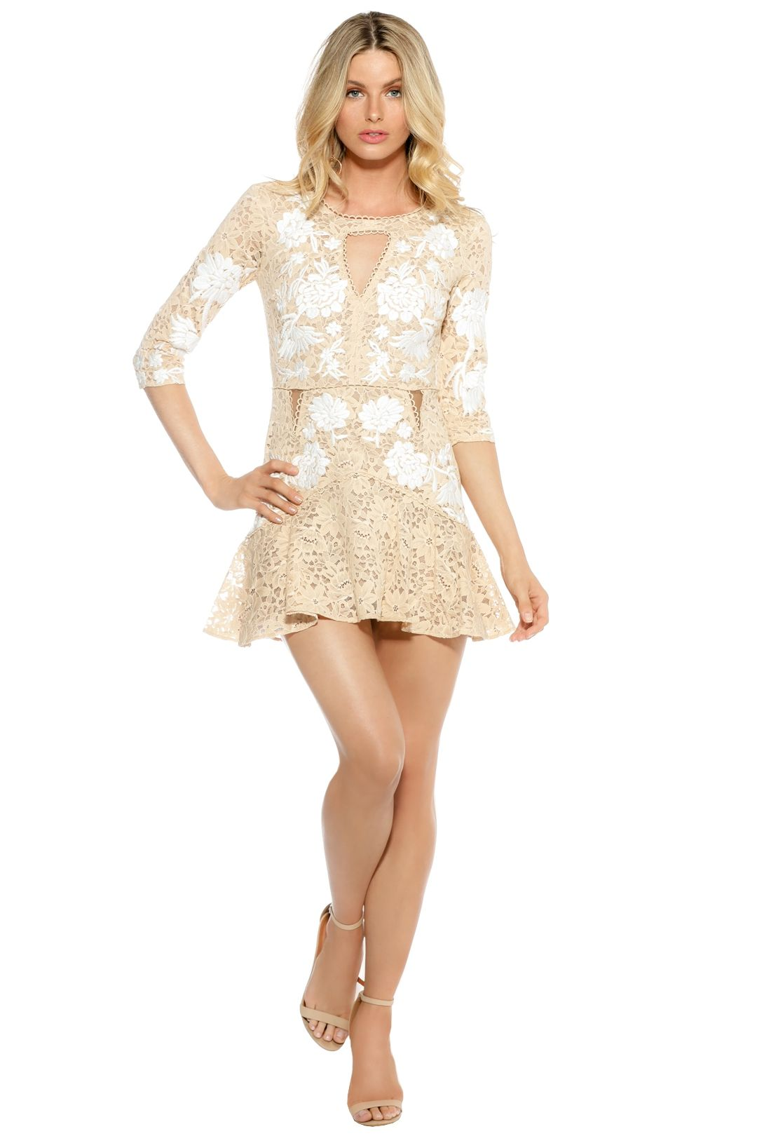 For Love and Lemons - Mallorca Embroidery Dress - Latte - Front