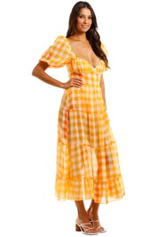 For Love and Lemons Mimosa Maxi Dress Sheer Skirt