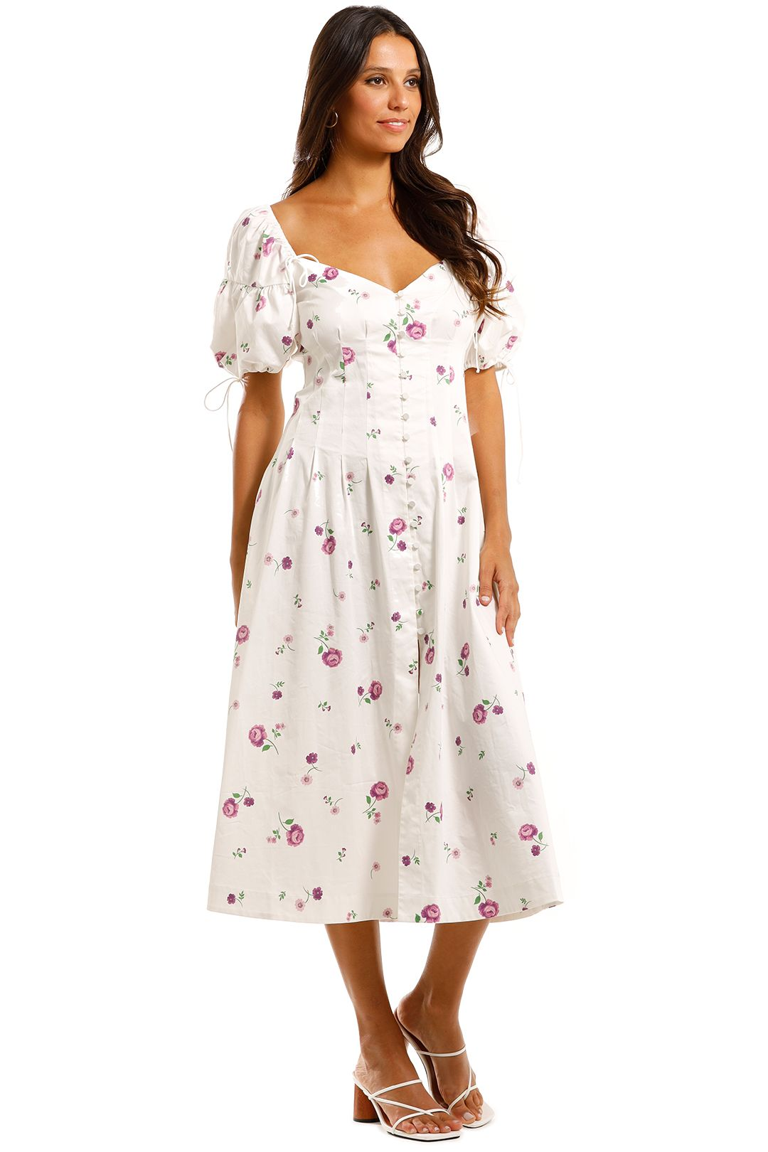 For Love and Lemons Violet Midi Dress Floral Print
