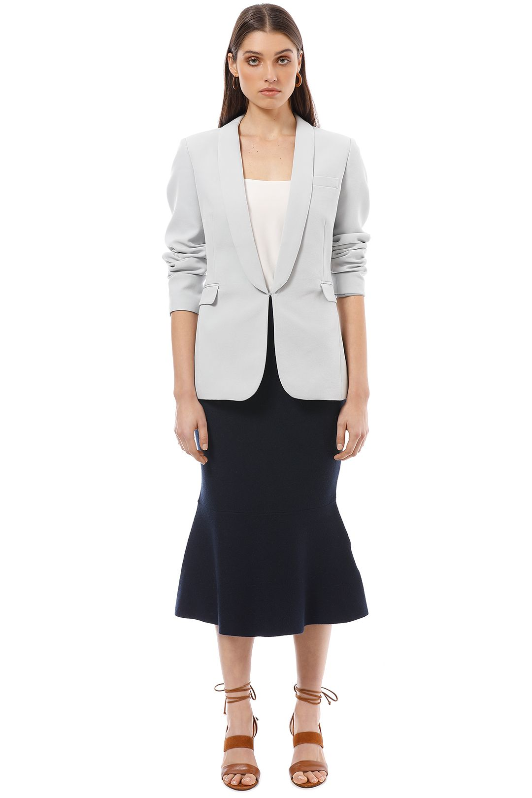 Friend of Audrey - Alma Fitted Blazer - Blue - Front