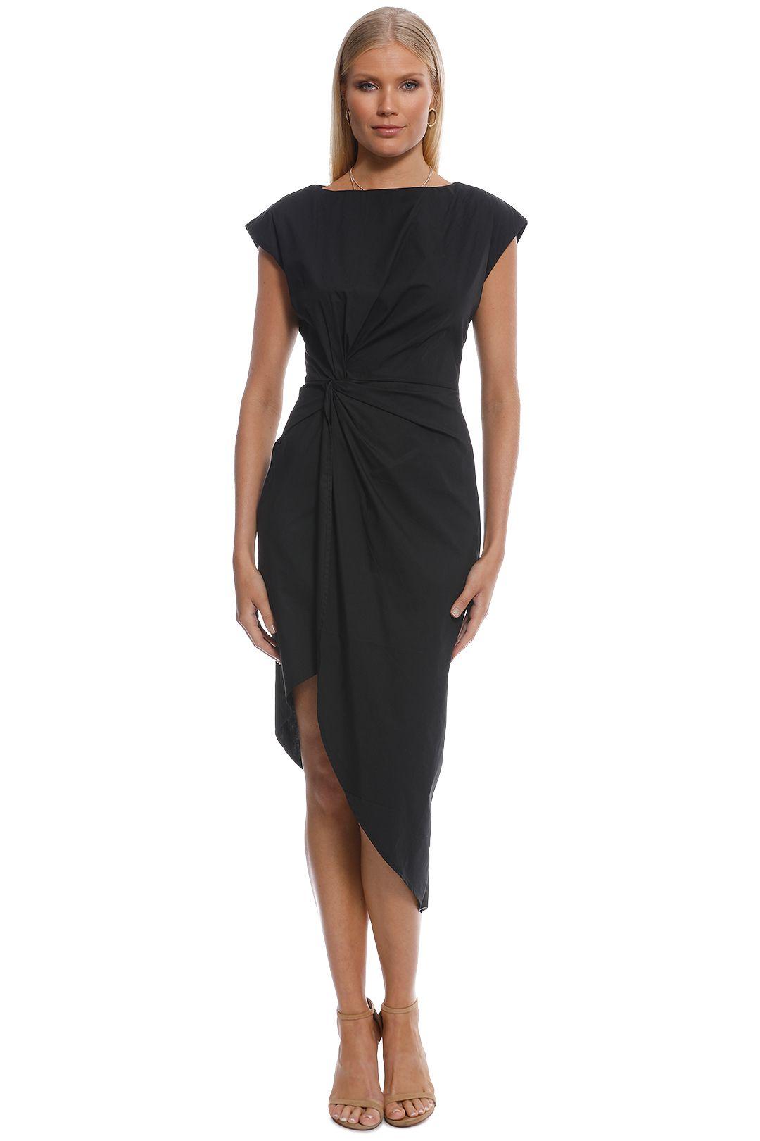 Friend of Audrey - Bailey Twist Midi Dress - Black - Front