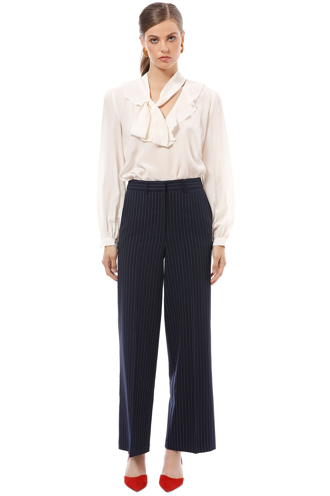 Friend of Audrey - Cecile Striped Wide-Leg Pants - Navy - Front