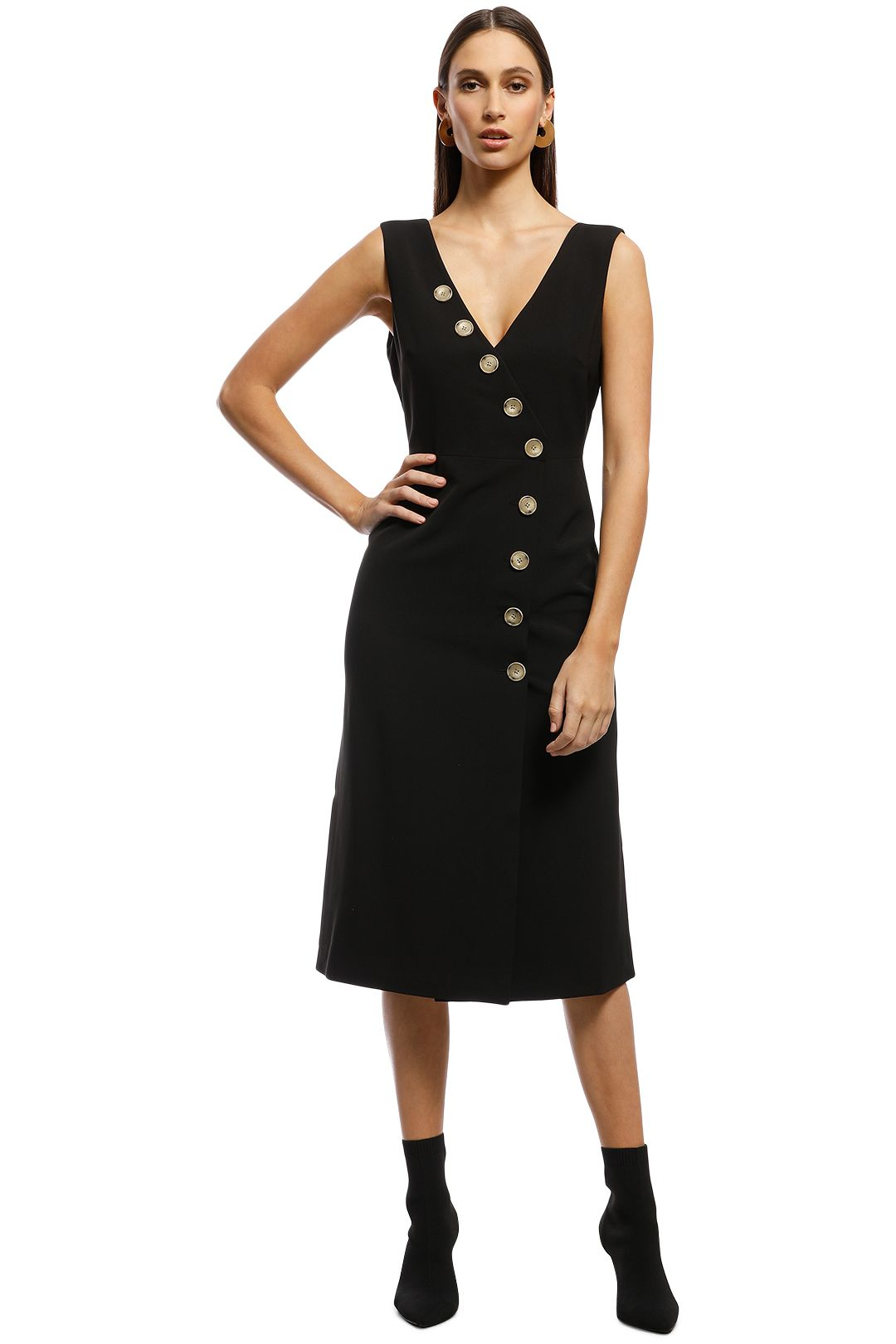 Friend of Audrey - Dylan Buttoned Dress - Black - Front
