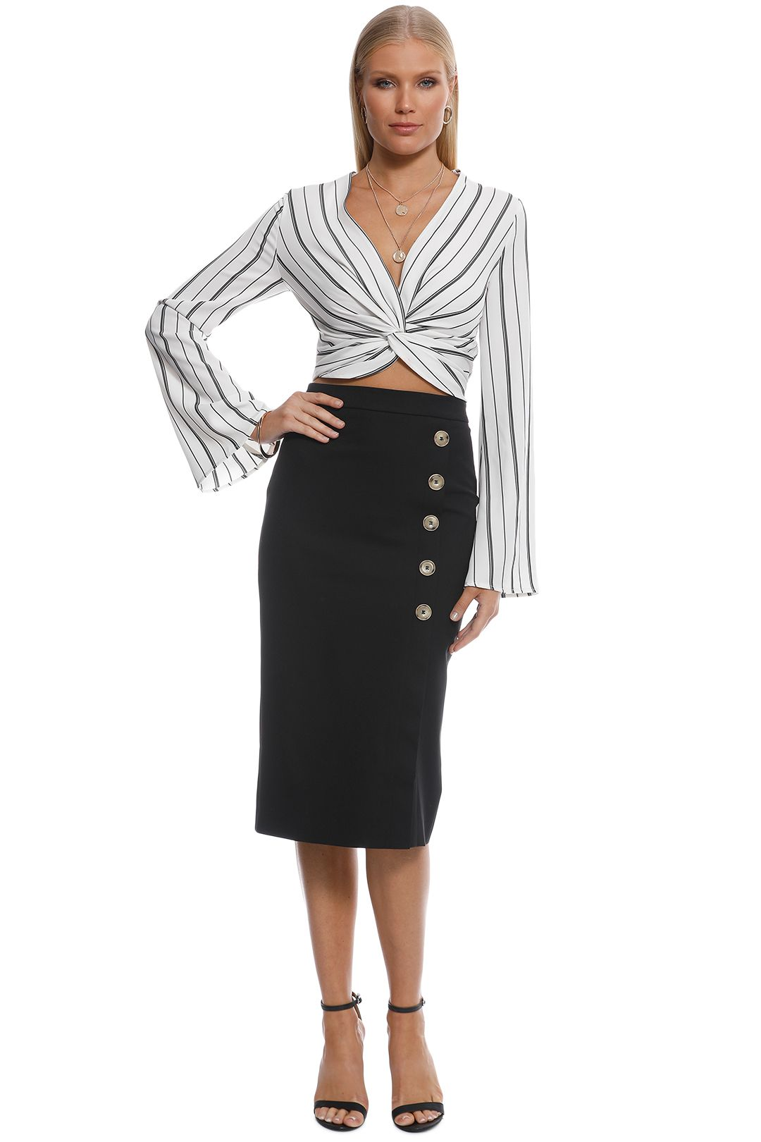 Friend of Audrey - Dylan Buttoned Midi Skirt - Black - Front