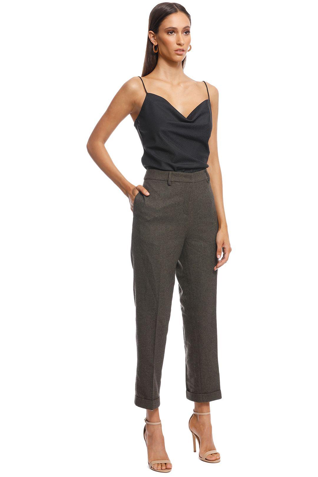 Friend of Audrey - Ellen Wool 7/8 Trousers - Khaki - Side