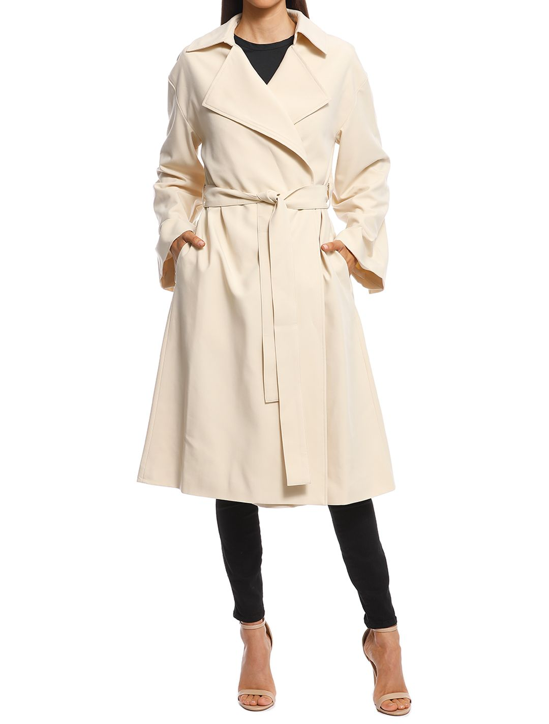 Friend of Audrey - Emerson Oversized Trench Coat - Sand - Front