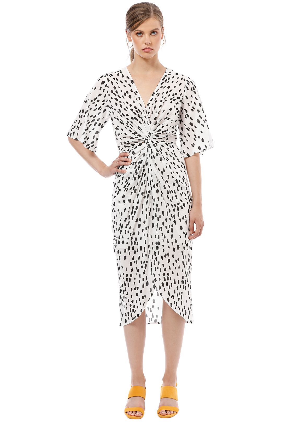 Friend of Audrey - Lucie Polka Dot Wrap Dress - White - Front