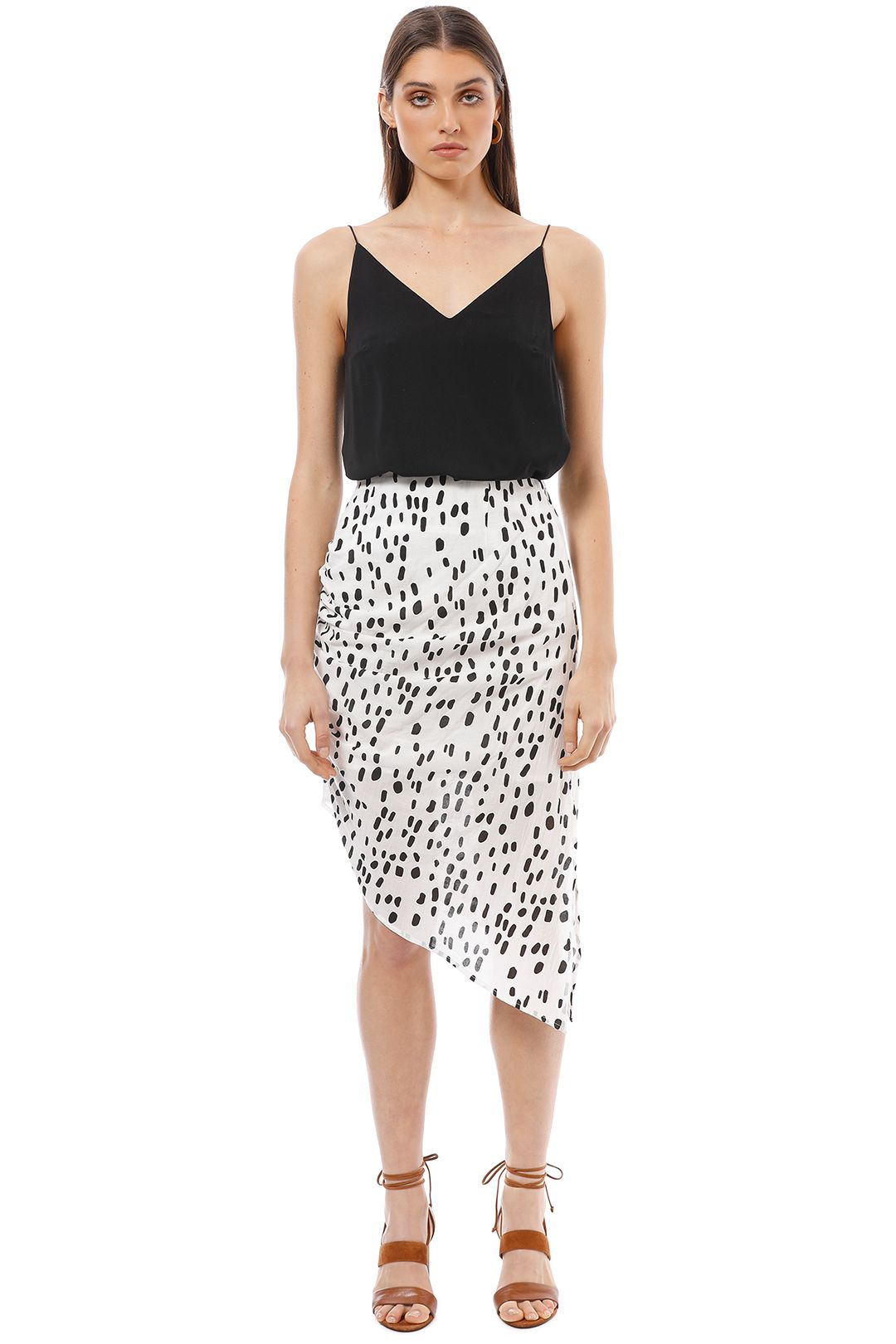 Friend of Audrey - Lucie Ruched Polka Dot Skirt - Black White - Front