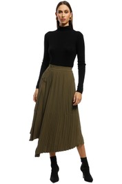 Friend of Audrey - Nathalie Pleated Asymmetry Skirt - Olive - Front
