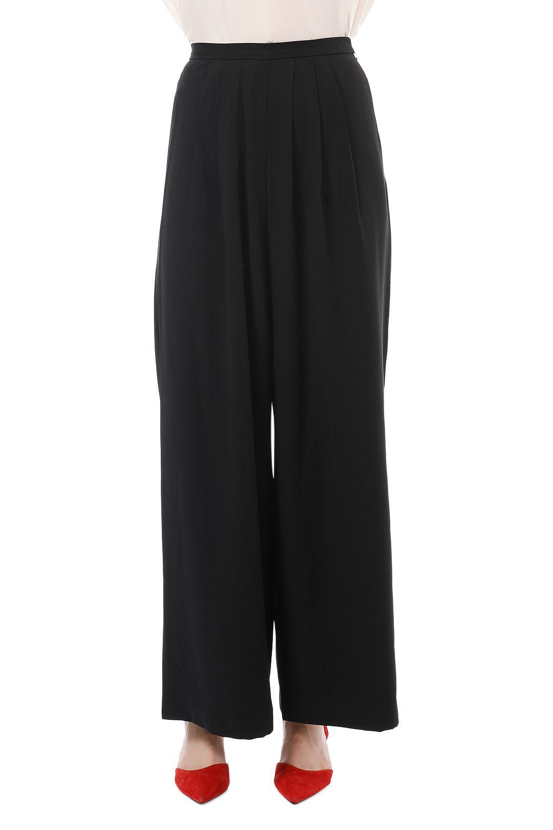 Friend of Audrey - Pleated Wide Leg Pants - Black - Crop