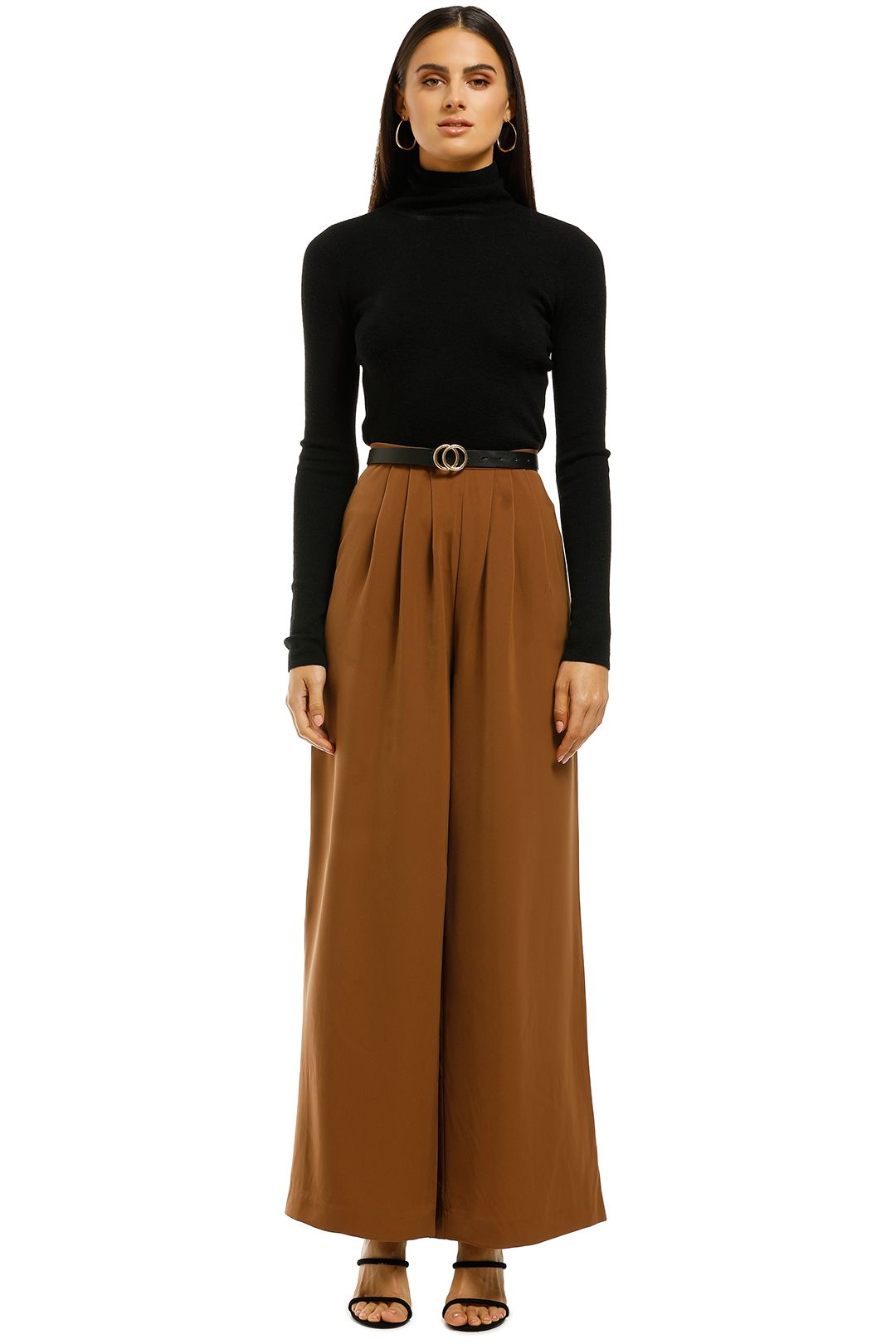 Friend of Audrey - Pleated Wide Pant - Tan - Front