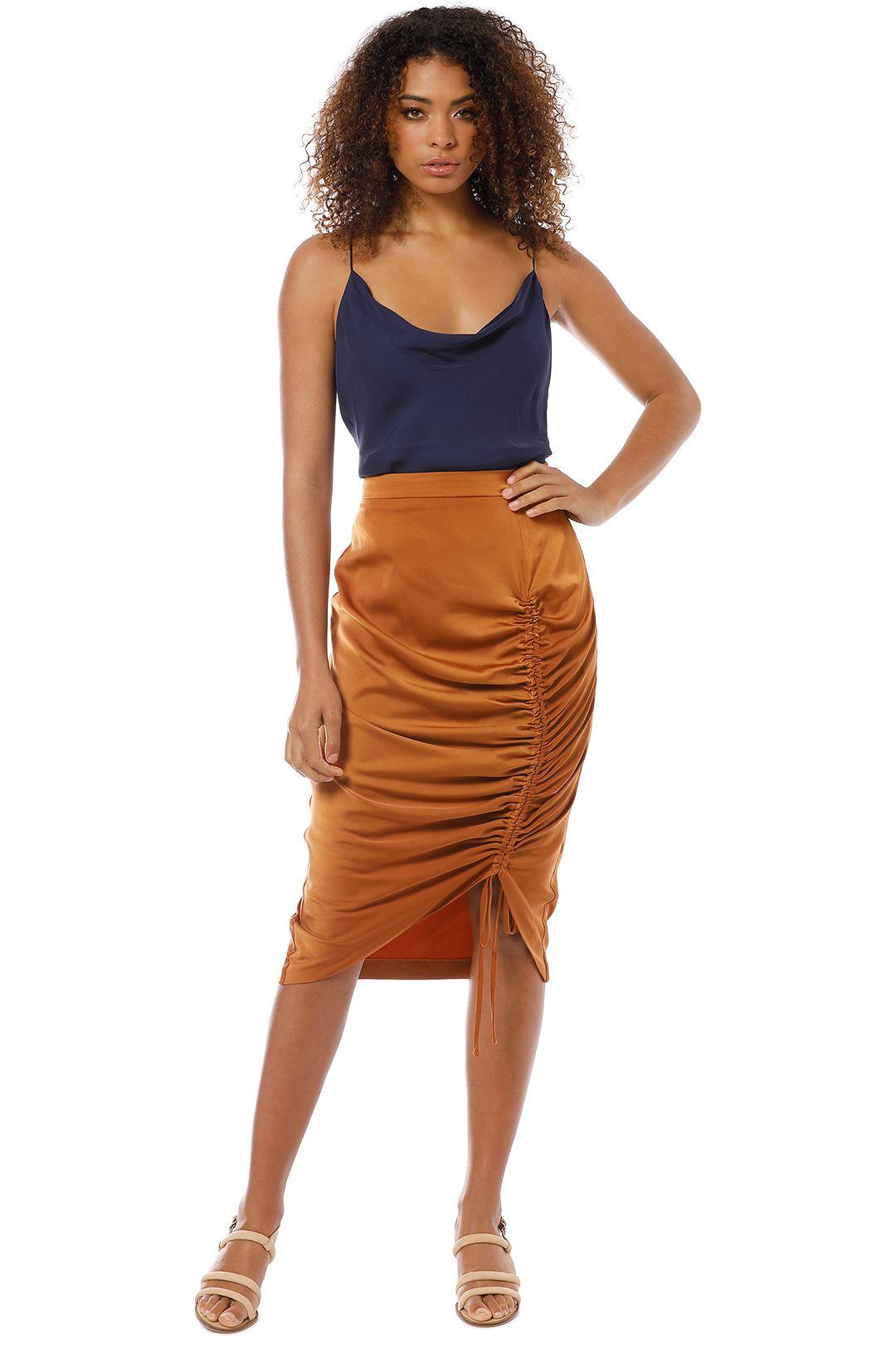 Friend of Audrey - Sienna Drawstring Midi Skirt - Tan - Front