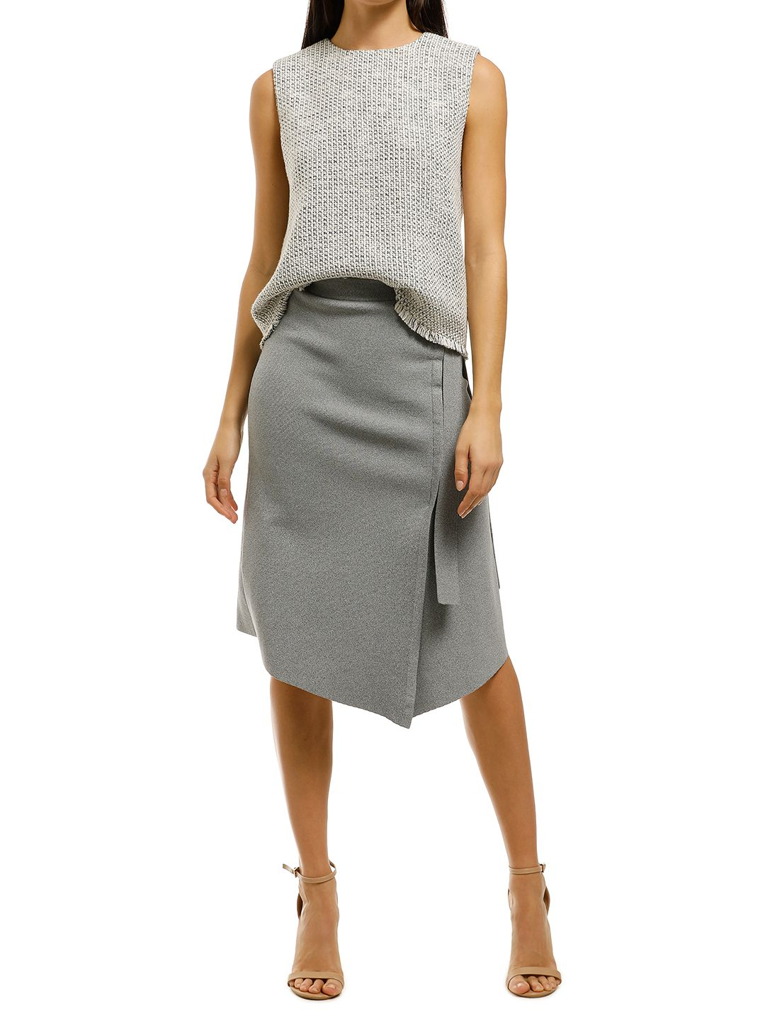 FWRD-The-Label-Alena-Crepe-Knit-Skirt-Grey-Front