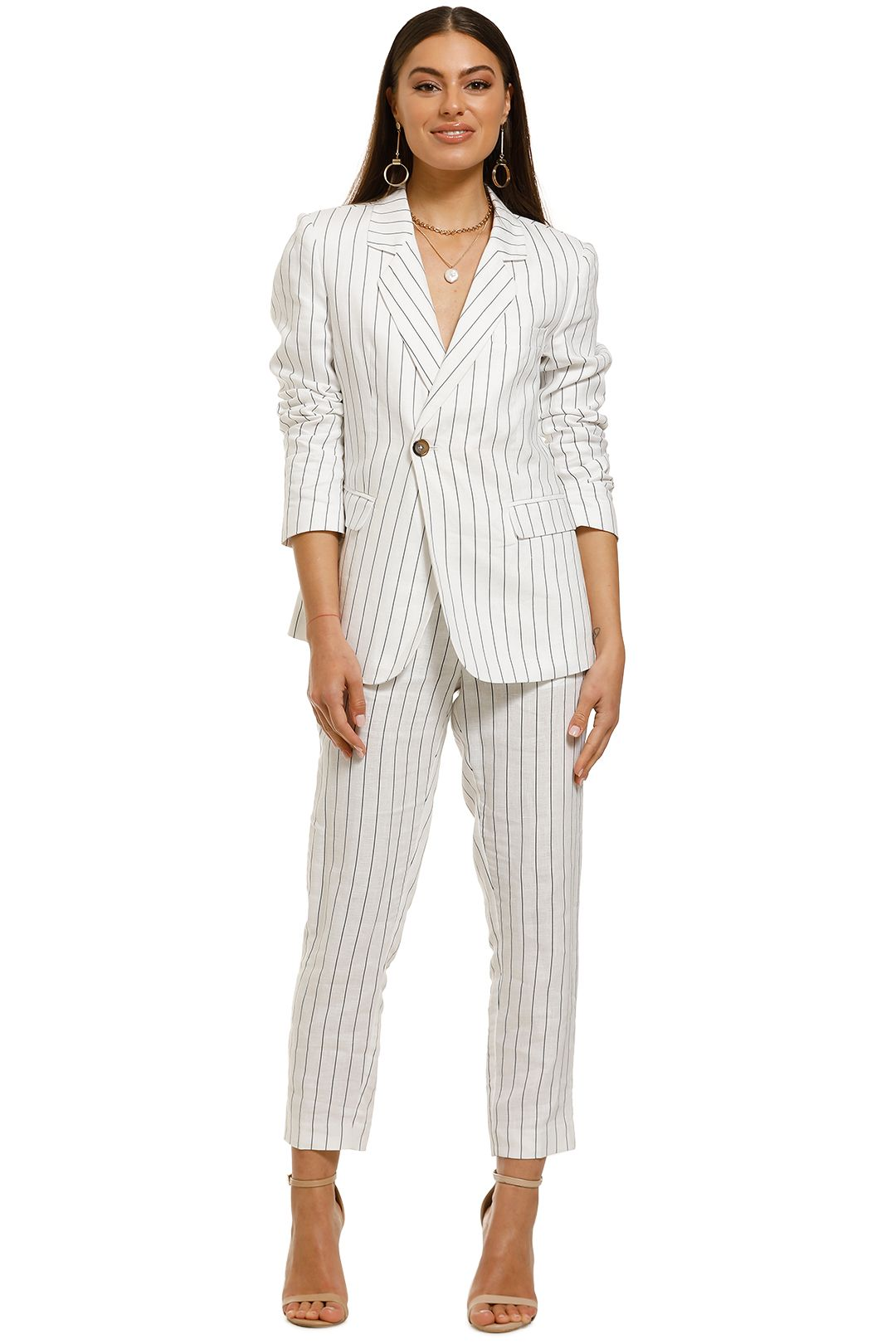 FWRD-The-Label-Cecilia-Jacket-and-Pant-Set-Black-White-Stripe-Front