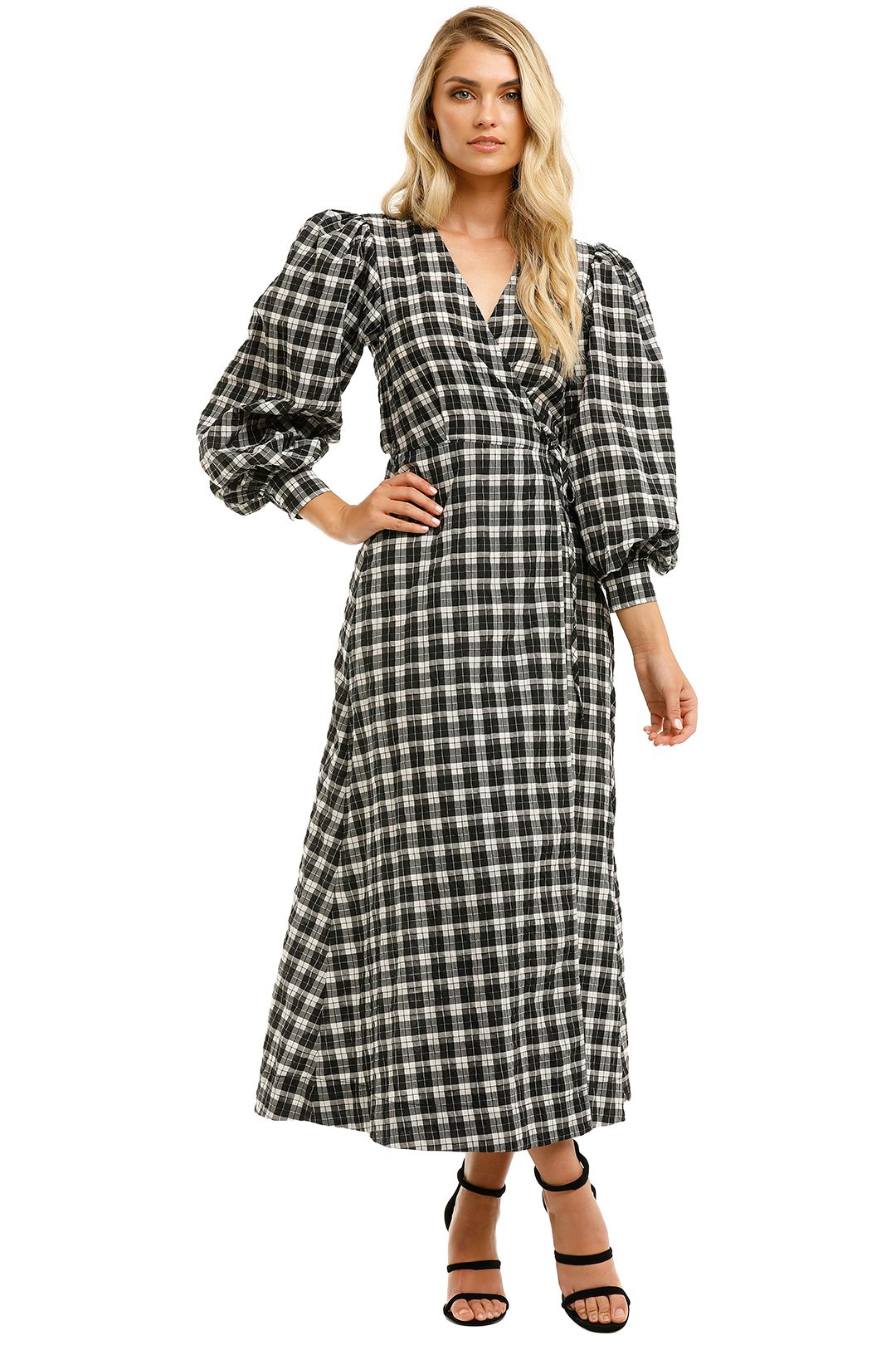 Ganni-Check-Long-Sleeves-Wrap-Dress-Front