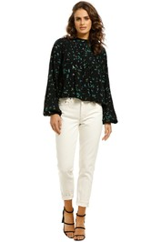 Ganni-Floral-Print-Pleated-Crepe-Top-Front