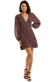 Ganni-Georgette-Check-Print-LS-Wrap-Dress-Fuchsia-Front