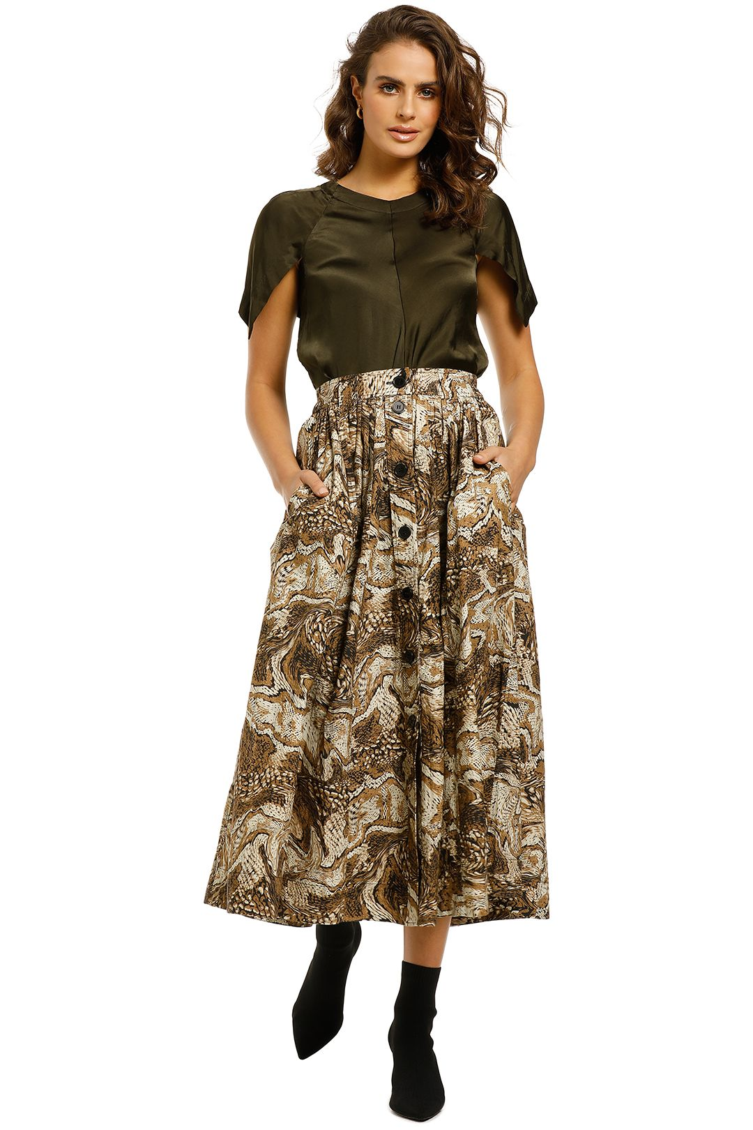 Ganni-Graphic-Print-Skirt-Tiger-Front