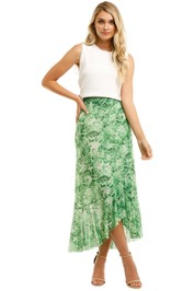 Ganni-Long-Skirt-Island-Green-Front