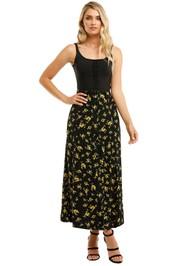 Ganni-Printed-Crepe-Long-Skirt-Black-Yellow-Front