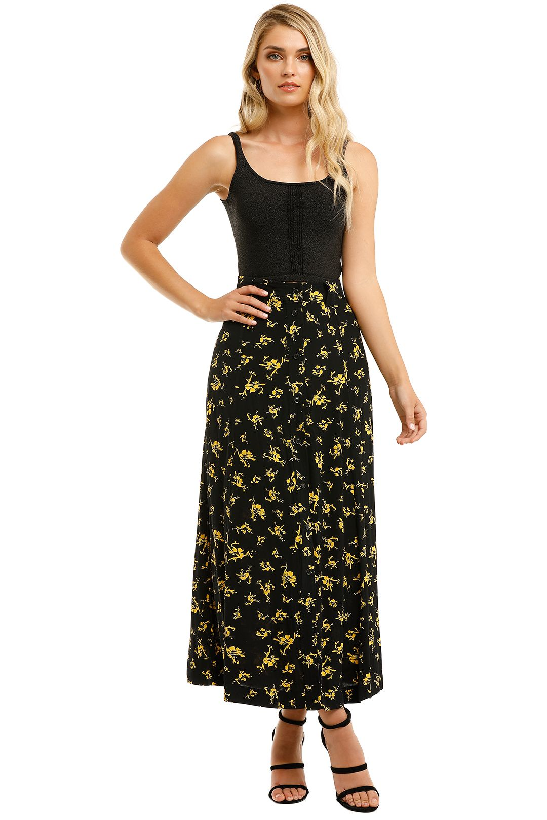 Ganni-Printed-Crepe-Long-Skirt-Black-Yellow-Front