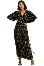 Ganni-Printed-Crepe-LS-Long-Dress-Black-Yellow-Front