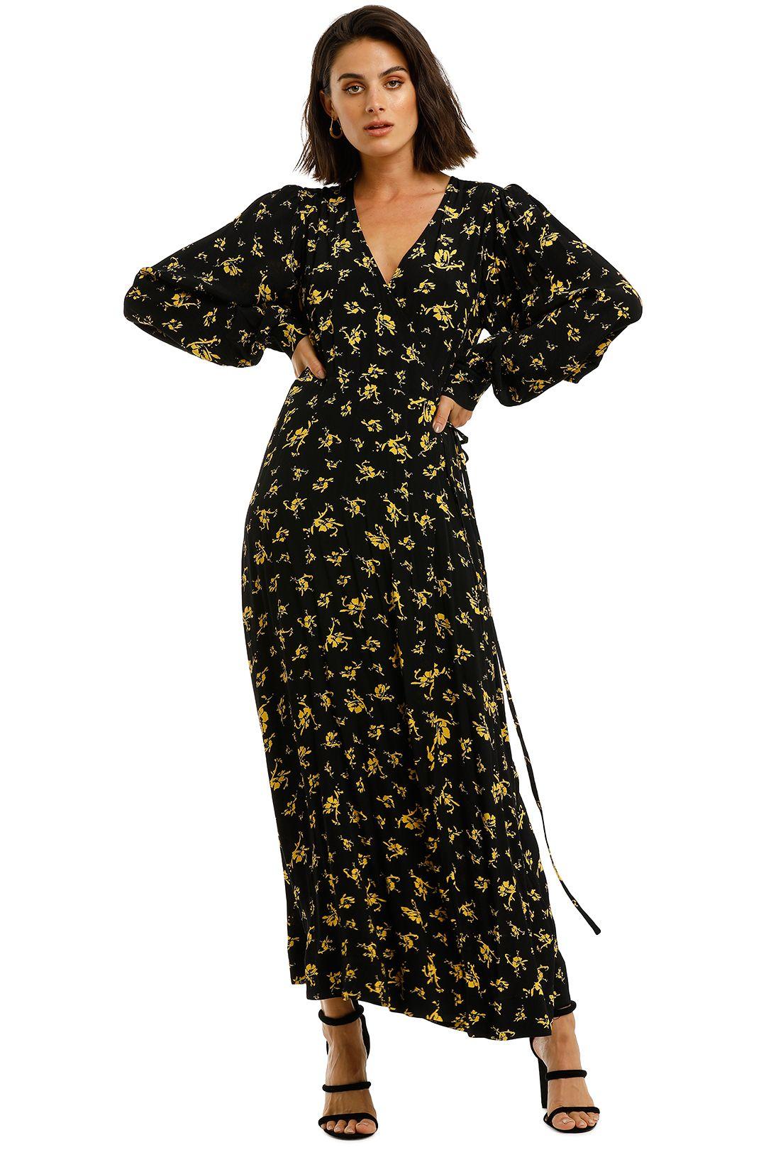 Ganni-Printed-Crepe-LS-Long-Dress-Black-Yellow-Front