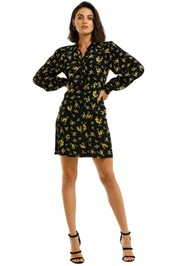 Ganni-Printed-Crepe-Shirt-Dress-Black-Yellow-Front