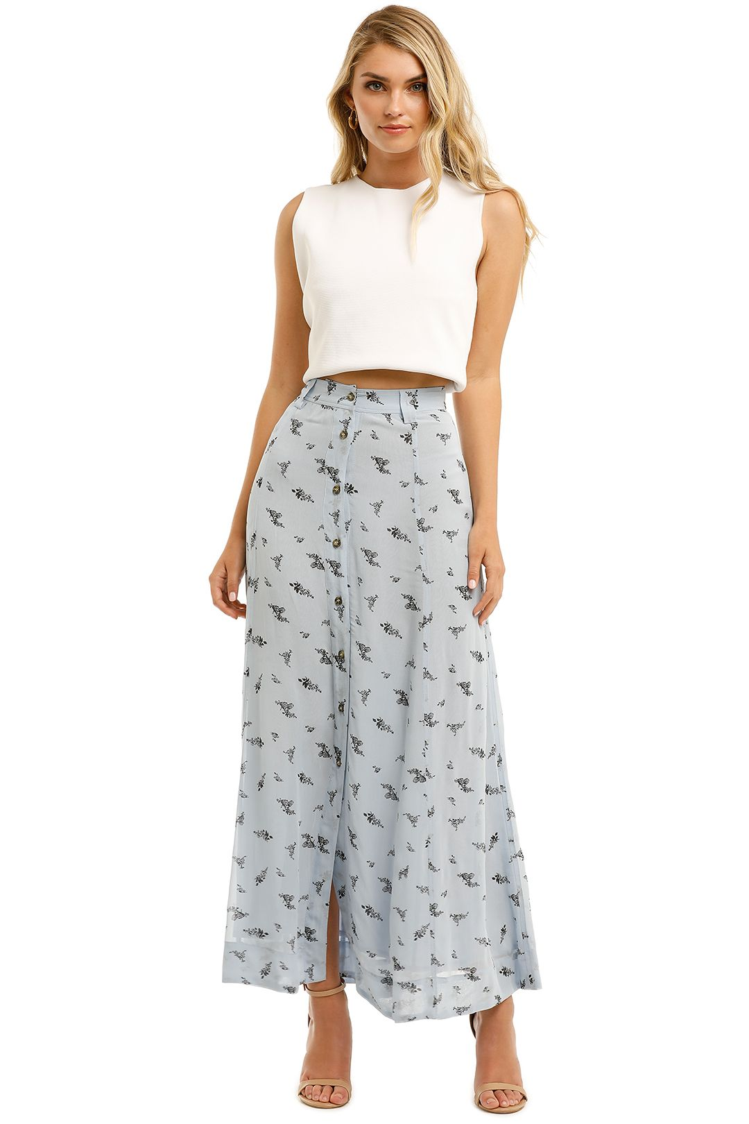 Ganni-Printed-Georgette-Long-Skirt-Brunnera-Blue-Front