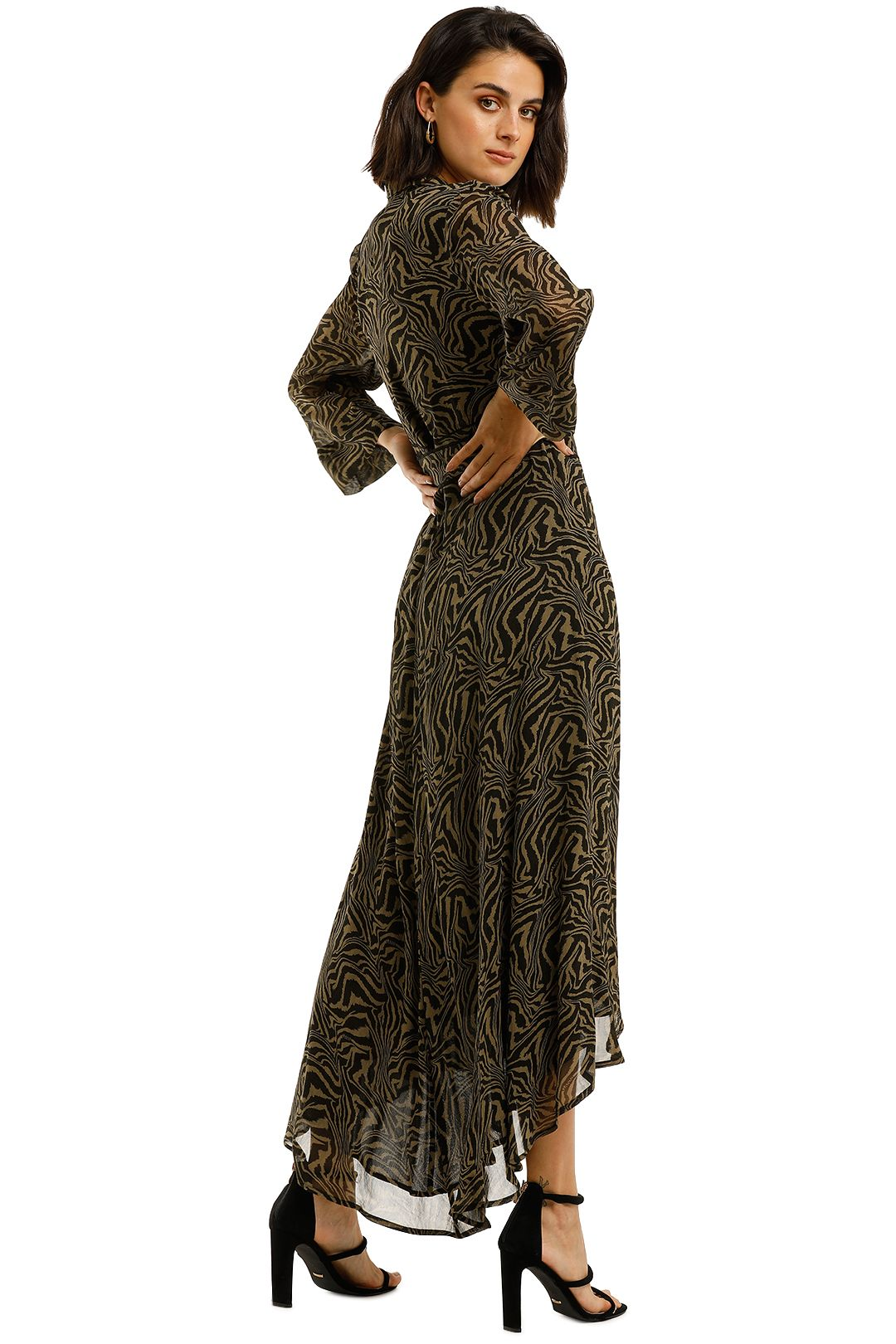 Ganni-Printed-Georgette-LS-Long-Wrap-Dress-Kalamata-Back