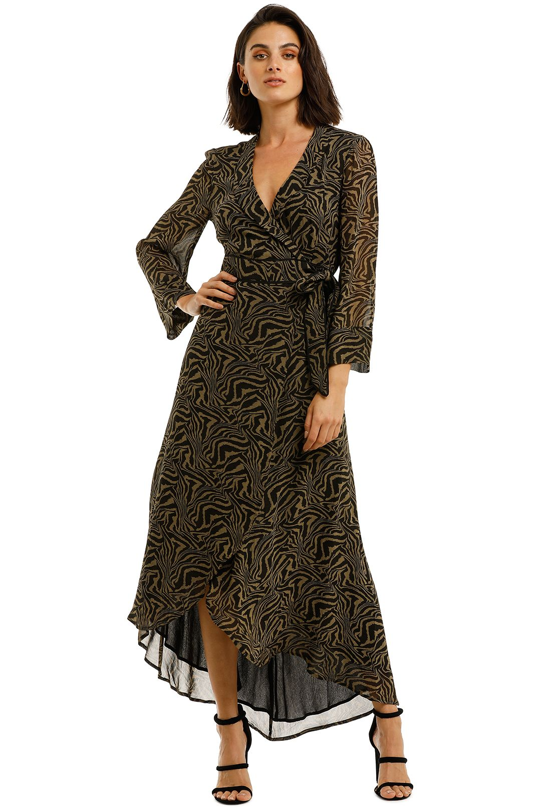 Ganni-Printed-Georgette-LS-Long-Wrap-Dress-Kalamata-Front