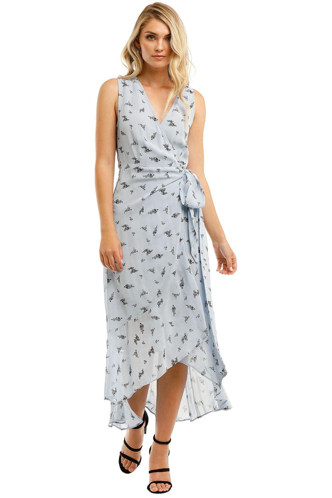 Ganni-Printed-Georgette-Sleeveless-Long-Dress-Brunnera-Blue-Front