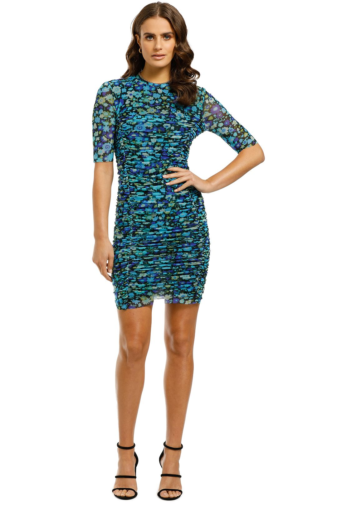 Ganni-Printed-Mesh-Dress-Azure-Blue-Front