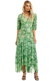 Ganni-Printed-Mesh-Long-Dress-Island-Green-Front