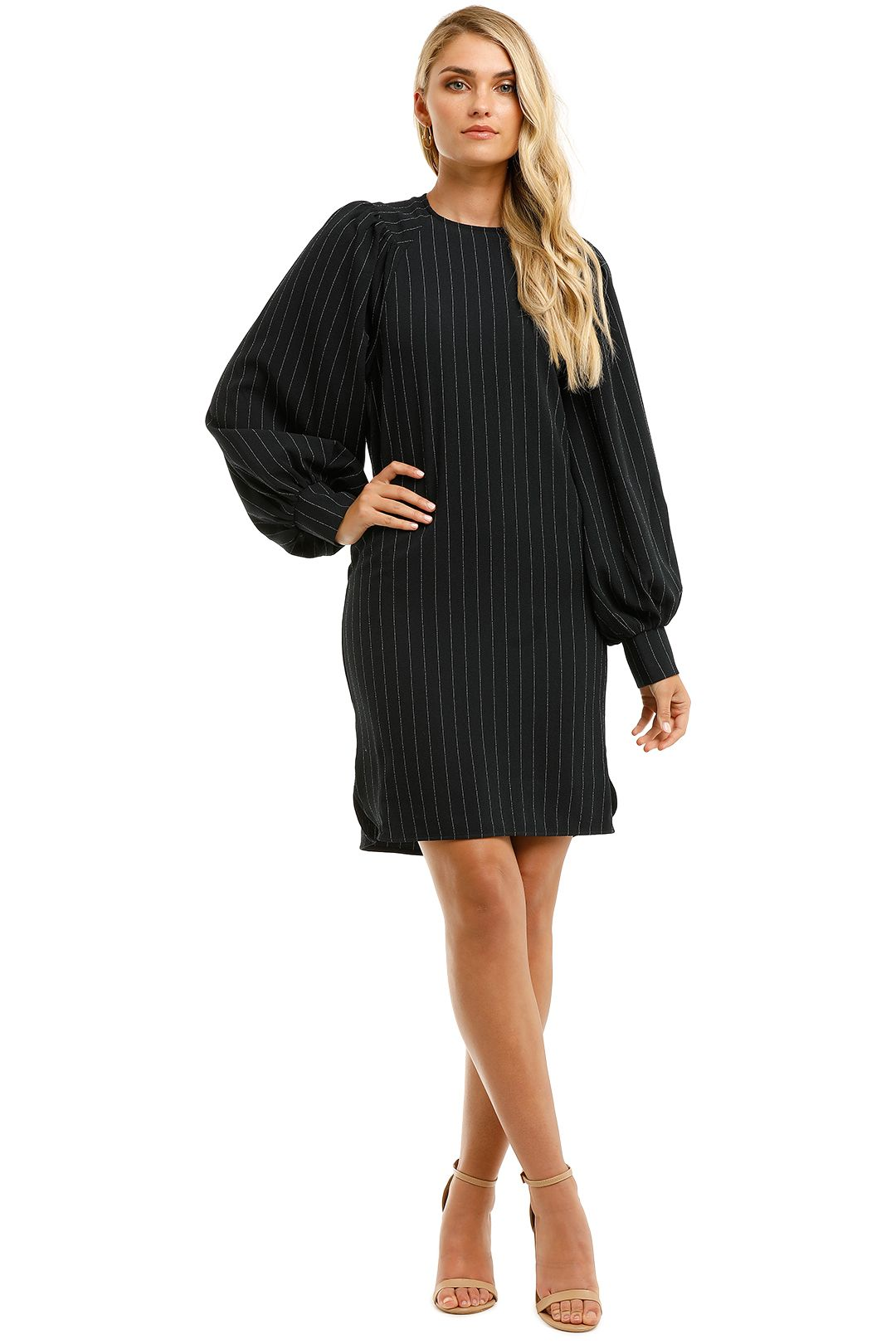 Ganni-Puffy-LS-Mini-Dress-Navy-Pinstripe-Front