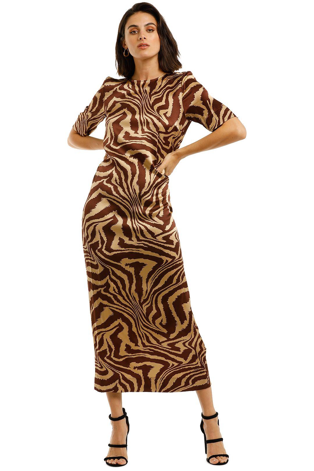 Ganni-Silk-Printed-Long-Dress-Tannin-Front