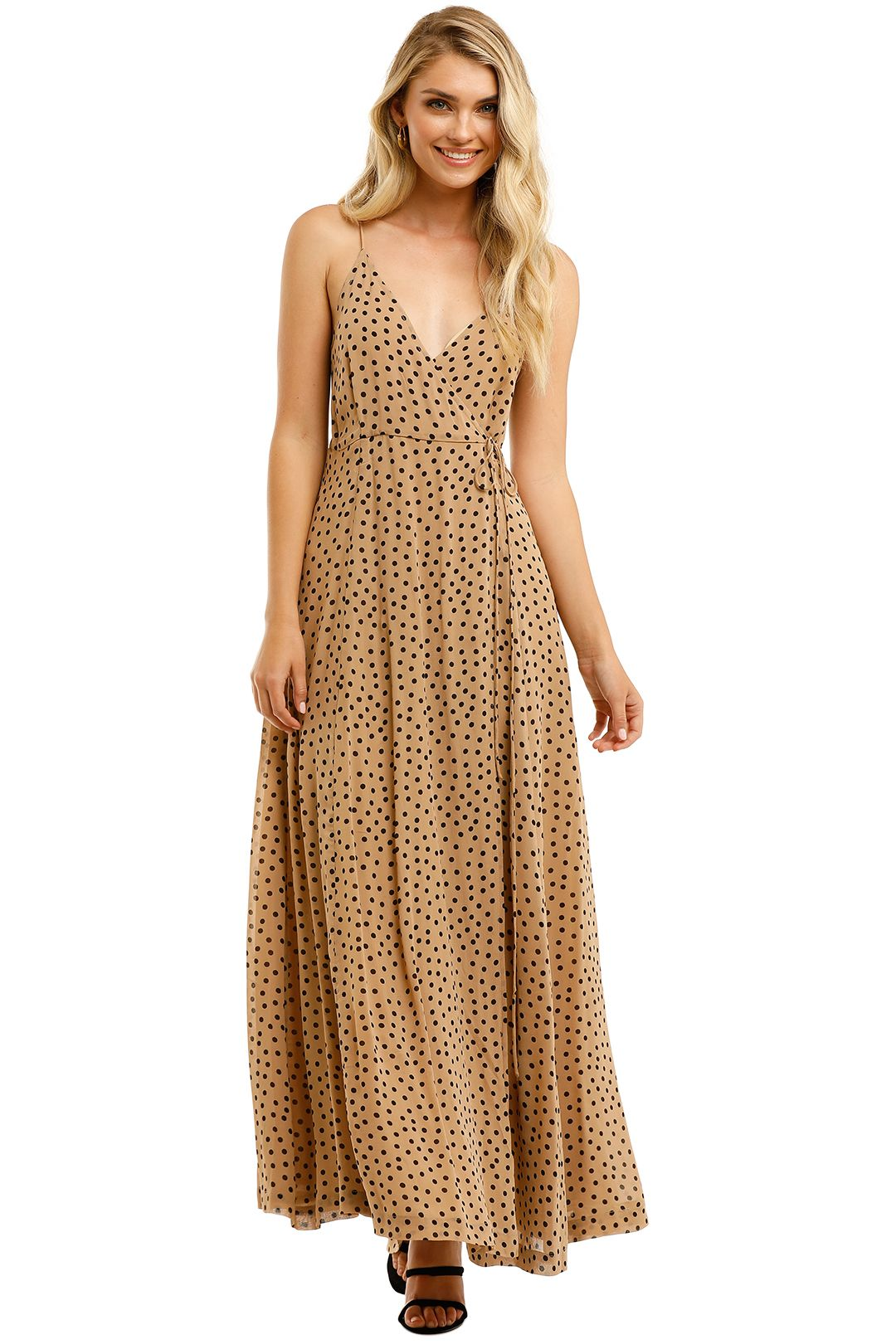 Ganni-Spot-Georgette-Sleeveless-Long-Dress-Tannin-Front