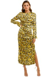 Ganni Floral Print Ruched Dress yellow split
